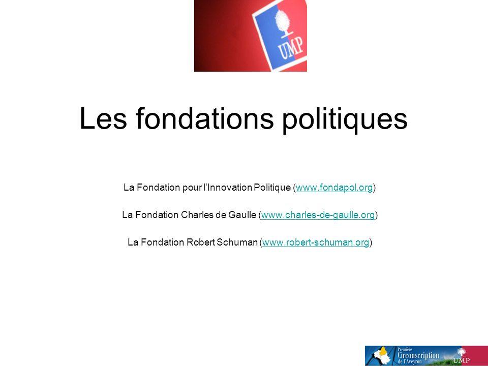 Les fondations politiques La Fondation pour lInnovation Politique (www.fondapol.org)www.fondapol.org La Fondation Charles de Gaulle (www.charles-de-gaulle.org)www.charles-de-gaulle.org La Fondation Robert Schuman (www.robert-schuman.org)www.robert-schuman.org