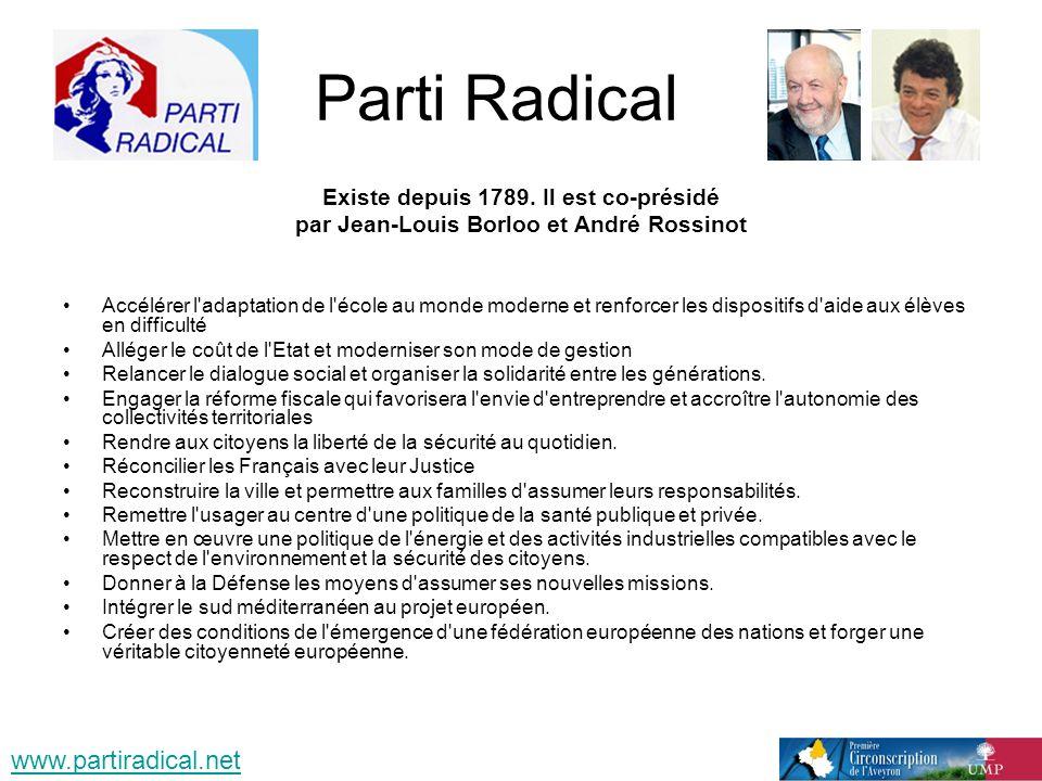 Parti Radical Existe depuis 1789. Il est co-présidé par Jean-Louis Borloo et André Rossinot Accélérer l'adaptation de l'école au monde moderne et renf