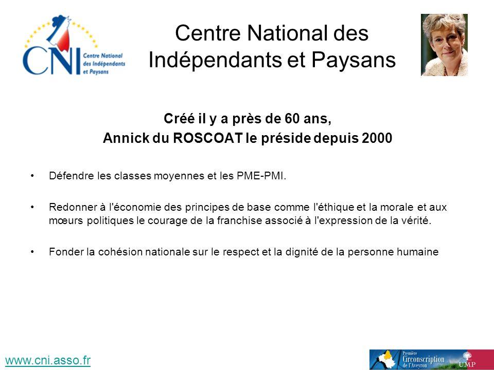 Centre National des Indépendants et Paysans Créé il y a près de 60 ans, Annick du ROSCOAT le préside depuis 2000 Défendre les classes moyennes et les PME-PMI.
