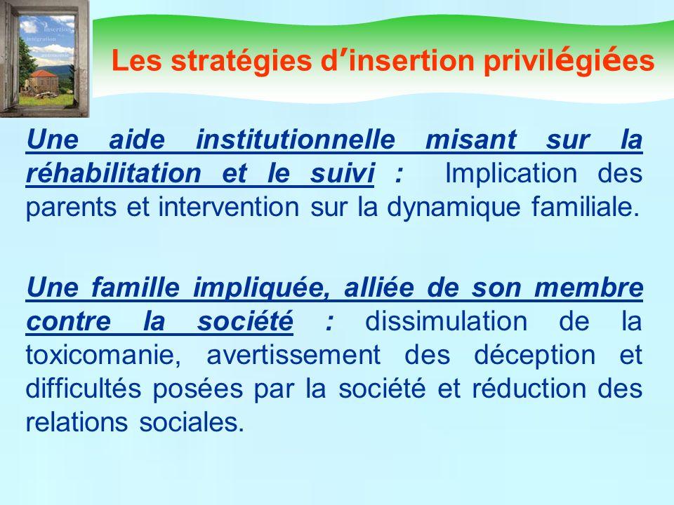 Les stratégies d insertion privil é gi é es Une aide institutionnelle misant sur la réhabilitation et le suivi : Implication des parents et interventi