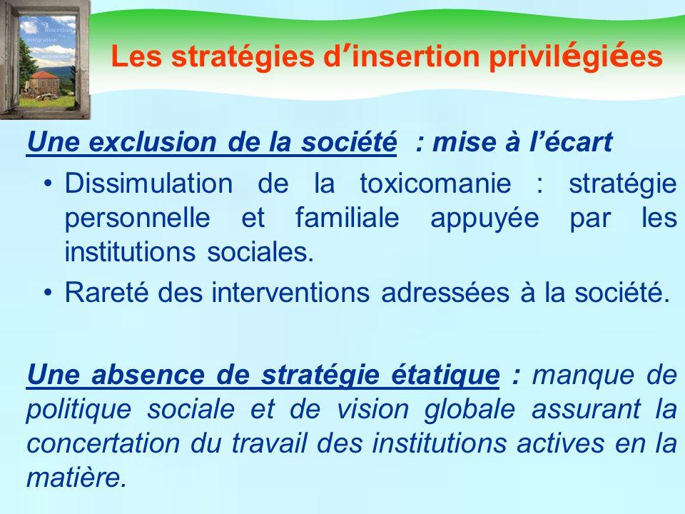 Une exclusion de la société : mise à lécart Dissimulation de la toxicomanie : stratégie personnelle et familiale appuyée par les institutions sociales