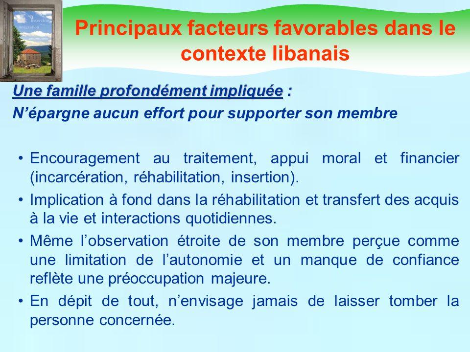 Principaux facteurs favorables dans le contexte libanais Une famille profondément impliquée : Népargne aucun effort pour supporter son membre Encourag