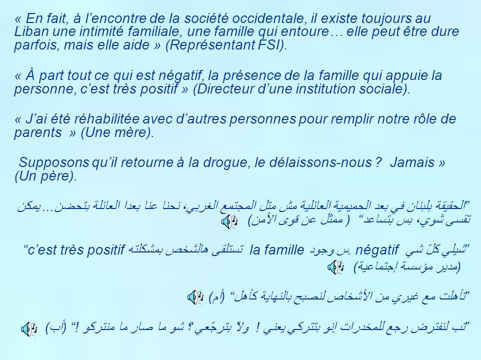 « En fait, à lencontre de la société occidentale, il existe toujours au Liban une intimité familiale, une famille qui entoure… elle peut être dure par