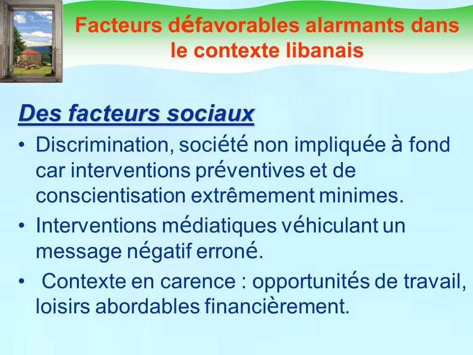 Facteurs d é favorables alarmants dans le contexte libanais Des facteurs sociaux Discrimination, soci é t é non impliqu é e à fond car interventions p