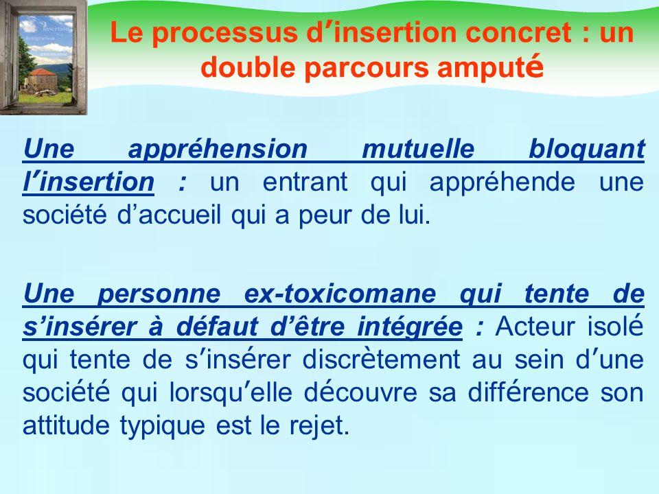 Le processus d insertion concret : un double parcours amput é Une appréhension mutuelle bloquant l insertion : un entrant qui appréhende une société d