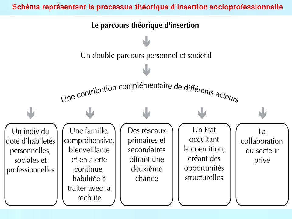 Schéma représentant le processus théorique dinsertion socioprofessionnelle