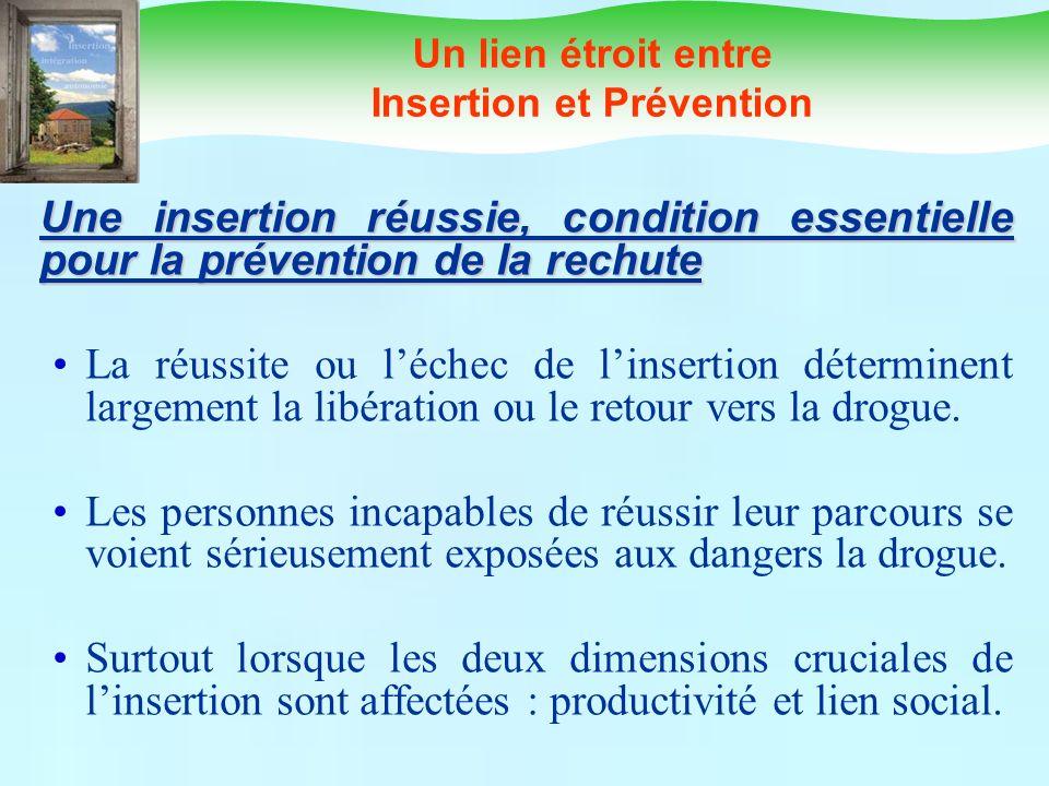 Un lien étroit entre Insertion et Prévention Une insertion réussie, condition essentielle pour la prévention de la rechute La réussite ou léchec de li