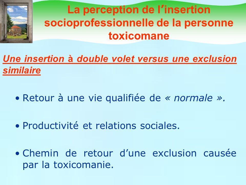 La perception de l insertion socioprofessionnelle de la personne toxicomane Une insertion à double volet versus une exclusion similaire Retour à une v