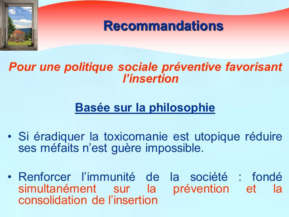 Pour une politique sociale préventive favorisant linsertion Basée sur la philosophie Si éradiquer la toxicomanie est utopique réduire ses méfaits nest