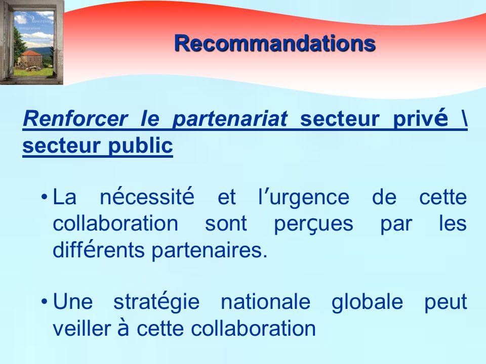 Renforcer le partenariat secteur priv é \ secteur public La n é cessit é et l urgence de cette collaboration sont per ç ues par les diff é rents parte