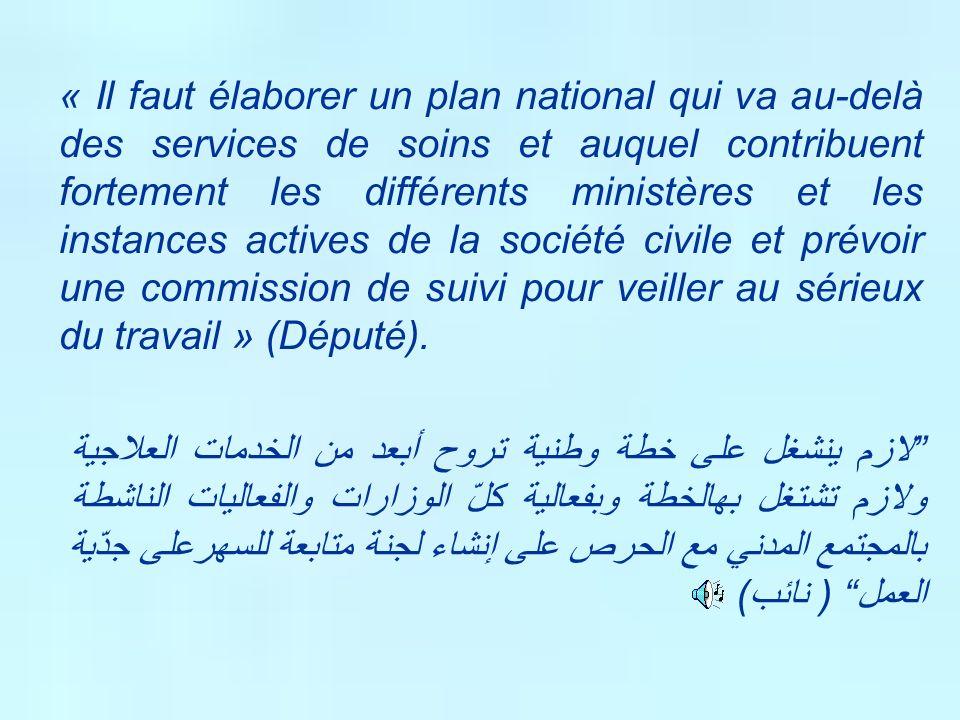 « Il faut élaborer un plan national qui va au-delà des services de soins et auquel contribuent fortement les différents ministères et les instances ac