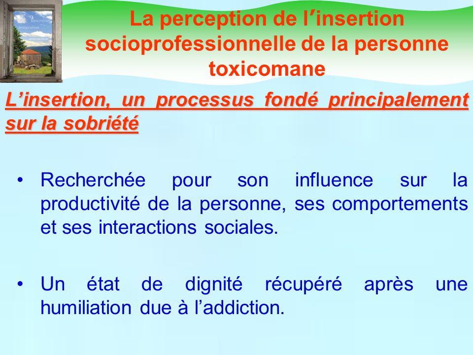 Linsertion, un processus fondé principalement sur la sobriété Recherchée pour son influence sur la productivité de la personne, ses comportements et s