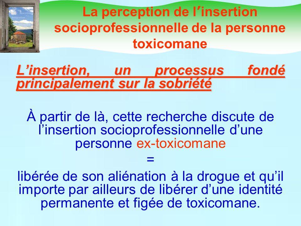 Linsertion, un processus fondé principalement sur la sobriété À partir de là, cette recherche discute de linsertion socioprofessionnelle dune personne