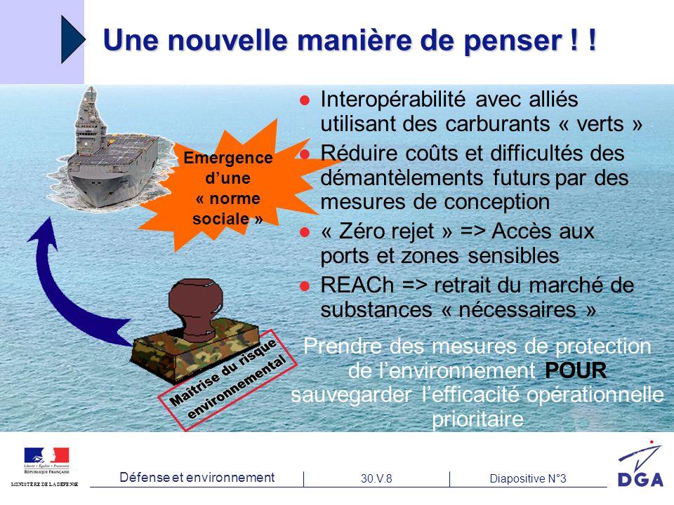 Défense et environnement 30.V.8Diapositive N°3 MINISTÈRE DE LA DÉFENSE Une nouvelle manière de penser .