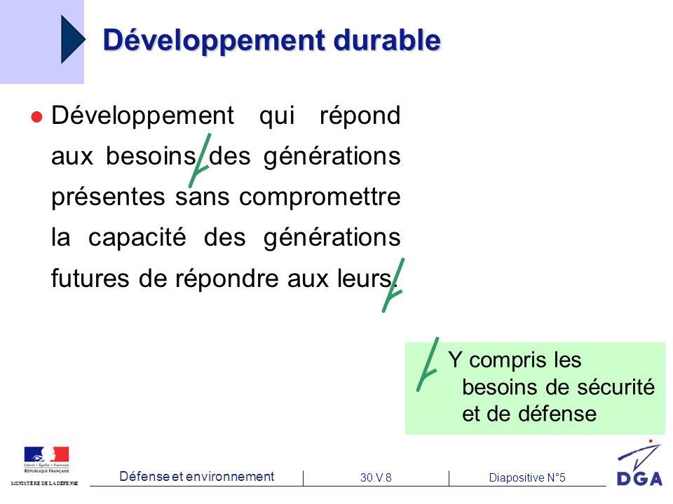 Défense et environnement 30.V.8Diapositive N°5 MINISTÈRE DE LA DÉFENSE Développement durable Développement qui répond aux besoins des générations présentes sans compromettre la capacité des générations futures de répondre aux leurs.