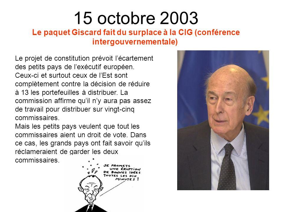 4 octobre 2003 Ouverture de la négociation sur la constitution européenne à Rome.