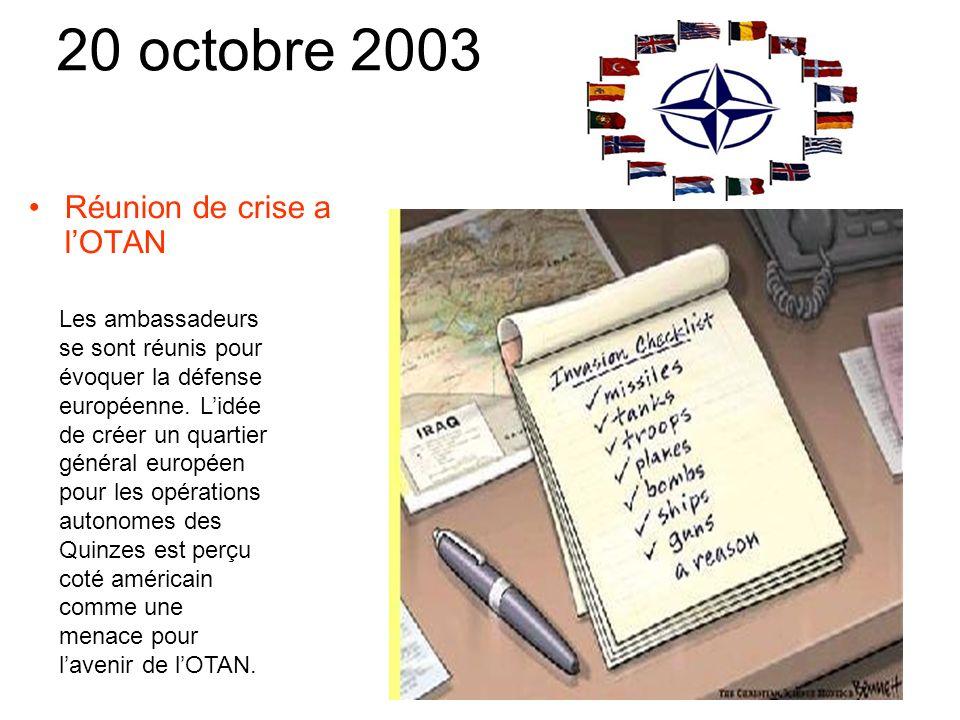 17 octobre 2003 Le chancelier allemand sera représenté par le président français au sommet européen.