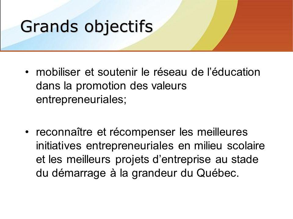 mobiliser et soutenir le réseau de léducation dans la promotion des valeurs entrepreneuriales; reconnaître et récompenser les meilleures initiatives entrepreneuriales en milieu scolaire et les meilleurs projets dentreprise au stade du démarrage à la grandeur du Québec.