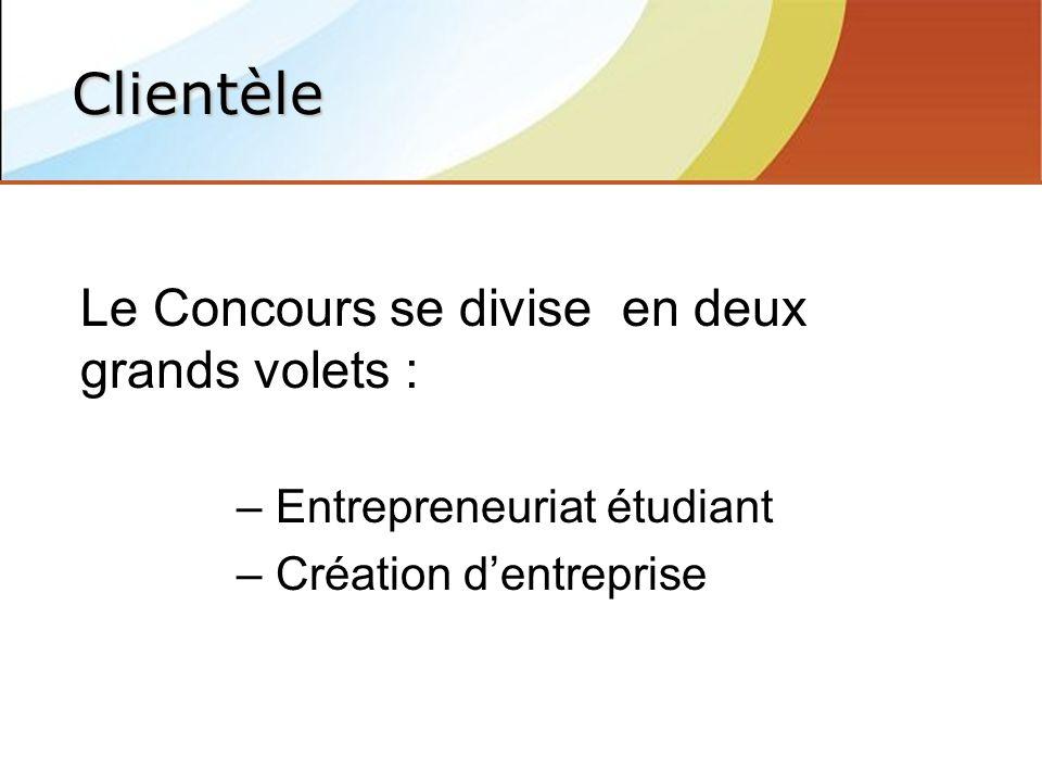 Le Concours se divise en deux grands volets : – Entrepreneuriat étudiant – Création dentreprise Clientèle