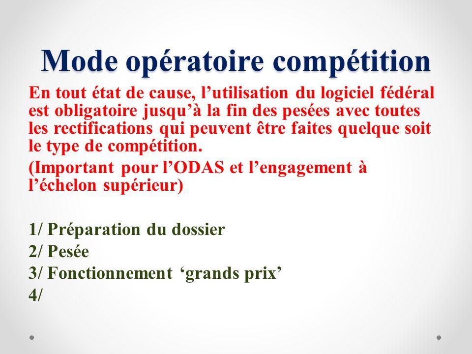 Mode opératoire compétition En tout état de cause, lutilisation du logiciel fédéral est obligatoire jusquà la fin des pesées avec toutes les rectifica