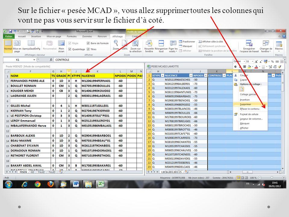 Sur le fichier « pesée MCAD », vous allez supprimer toutes les colonnes qui vont ne pas vous servir sur le fichier dà coté.