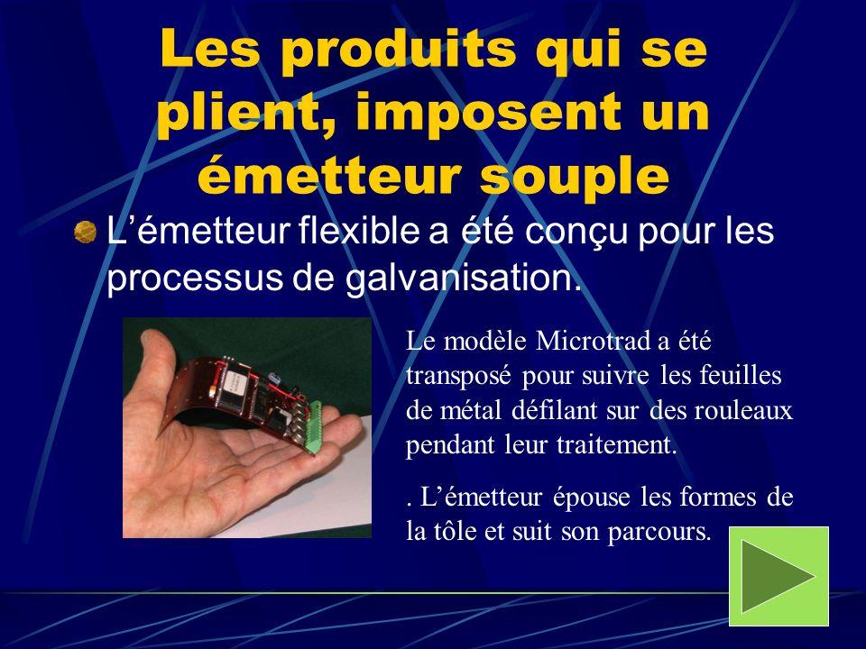 Les produits qui se plient, imposent un émetteur souple Lémetteur flexible a été conçu pour les processus de galvanisation. Le modèle Microtrad a été