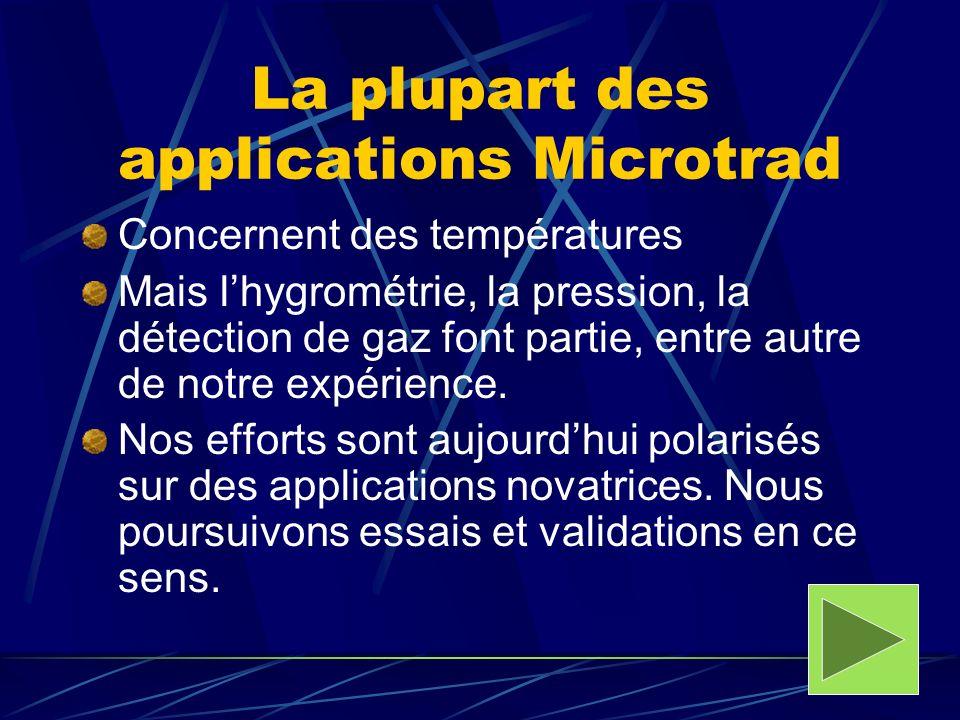 La plupart des applications Microtrad Concernent des températures Mais lhygrométrie, la pression, la détection de gaz font partie, entre autre de notr