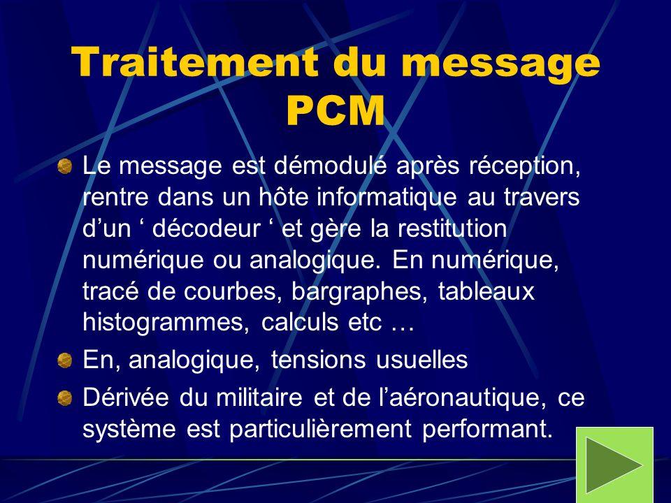 Traitement du message PCM Le message est démodulé après réception, rentre dans un hôte informatique au travers dun décodeur et gère la restitution num