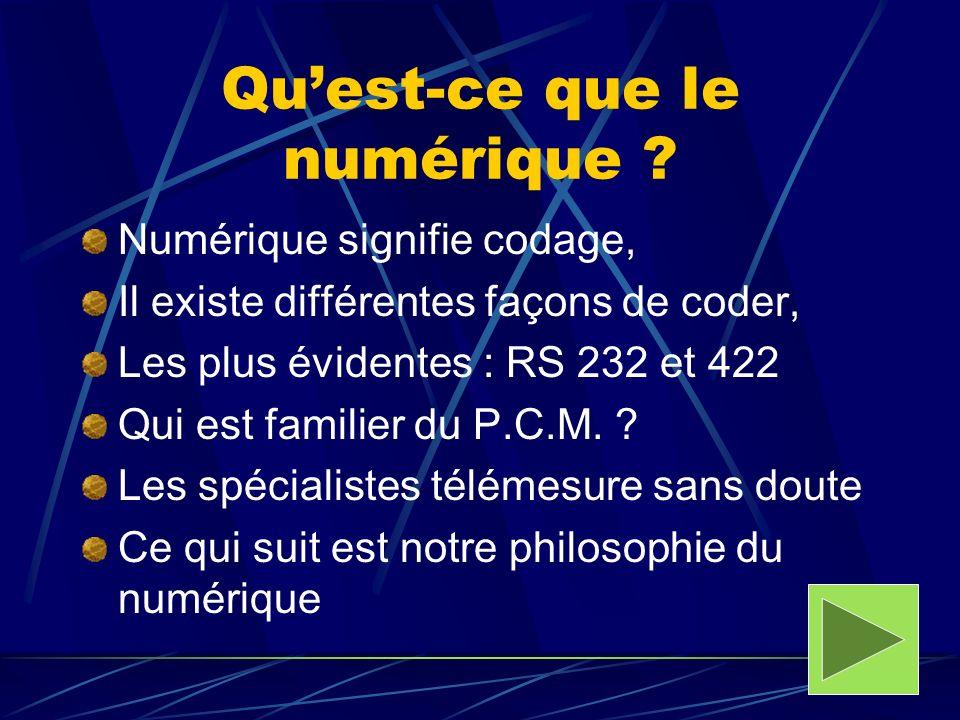 Quest-ce que le numérique ? Numérique signifie codage, Il existe différentes façons de coder, Les plus évidentes : RS 232 et 422 Qui est familier du P