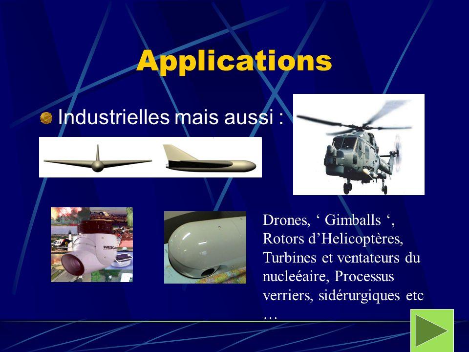 Applications Industrielles mais aussi : Drones, Gimballs, Rotors dHelicoptères, Turbines et ventateurs du nucleéaire, Processus verriers, sidérurgique
