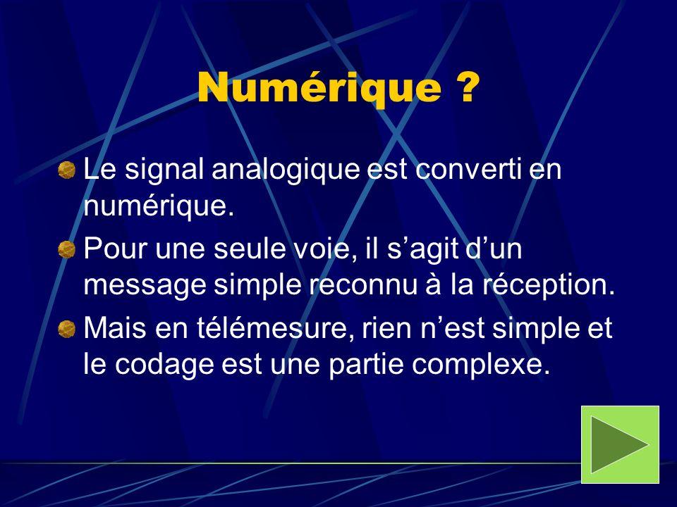 Numérique ? Le signal analogique est converti en numérique. Pour une seule voie, il sagit dun message simple reconnu à la réception. Mais en télémesur