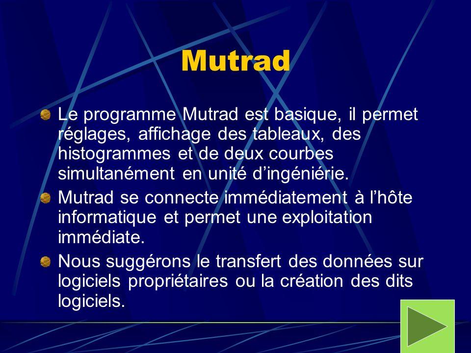 Mutrad Le programme Mutrad est basique, il permet réglages, affichage des tableaux, des histogrammes et de deux courbes simultanément en unité dingéni