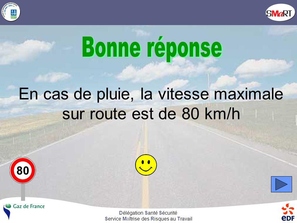 Délégation Santé Sécurité Service Maîtrise des Risques au Travail Il pleut, la vitesse maximale sur autoroute est de 110 km/h, de 100 km/h sur voie express.
