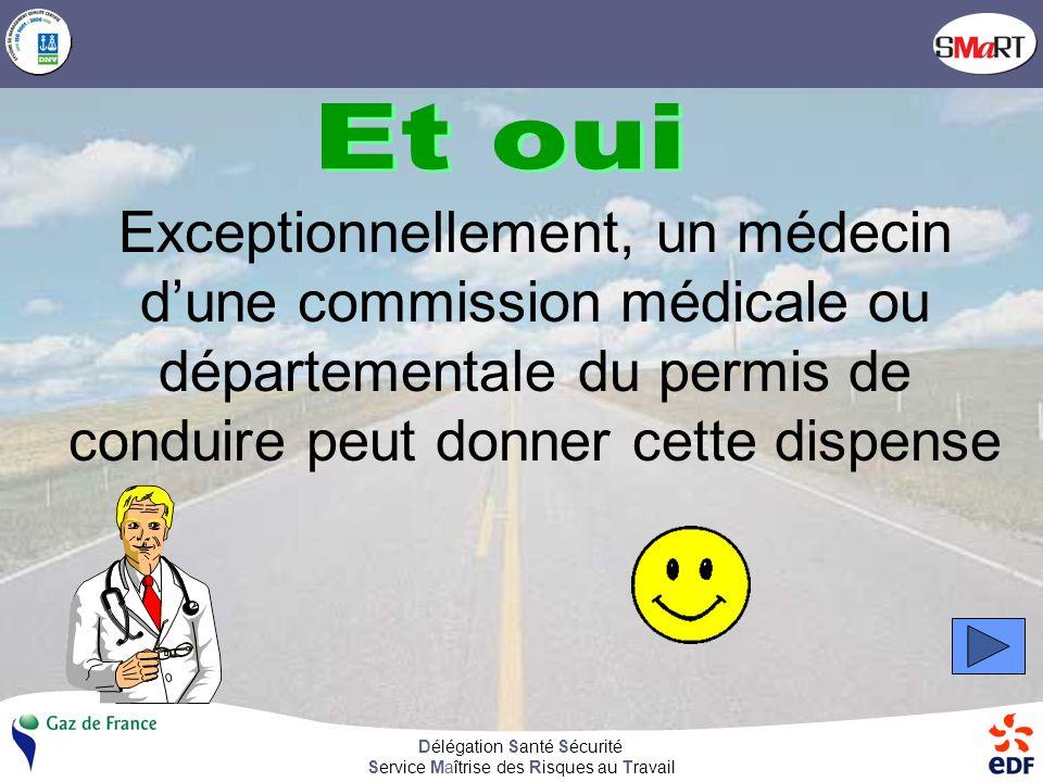 Délégation Santé Sécurité Service Maîtrise des Risques au Travail Un médecin peut vous dispenser du port de la ceinture de sécurité Vrai Faux