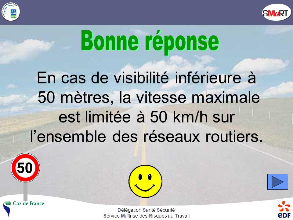 Délégation Santé Sécurité Service Maîtrise des Risques au Travail En cas de visibilité inférieure à 50 mètres, la vitesse maximale sur lensemble des réseaux routiers est de 50 km/h Vrai Faux