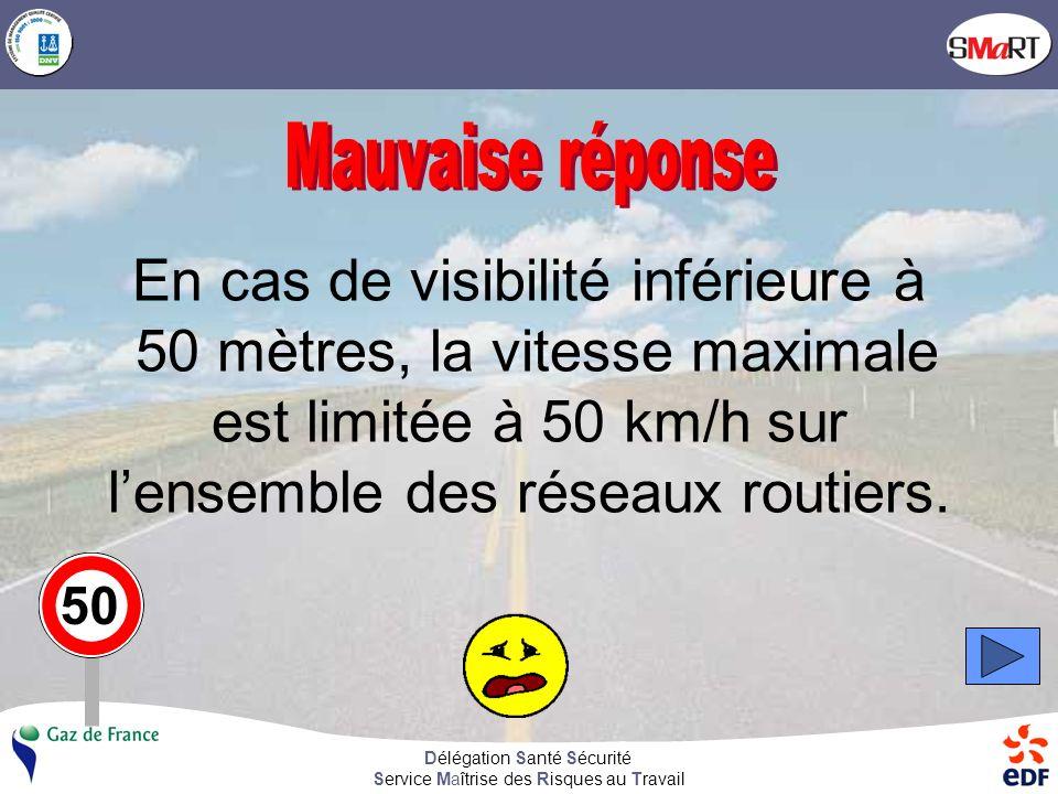 Délégation Santé Sécurité Service Maîtrise des Risques au Travail En cas de visibilité inférieure à 50 mètres, la vitesse maximale est limitée à 50 km