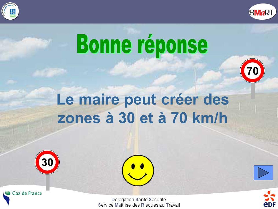 Délégation Santé Sécurité Service Maîtrise des Risques au Travail Le maire peut créer des zones à 30 et à 70 km/h 3070