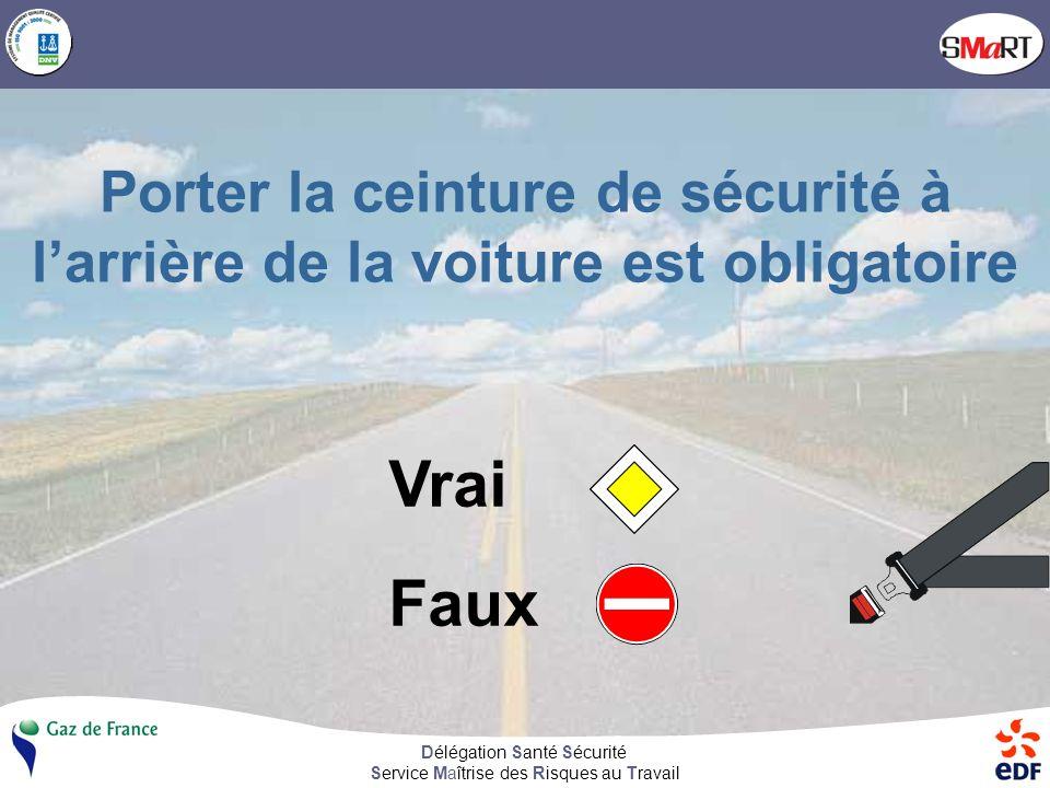 Délégation Santé Sécurité Service Maîtrise des Risques au Travail Porter la ceinture de sécurité à larrière de la voiture est obligatoire Vrai Faux