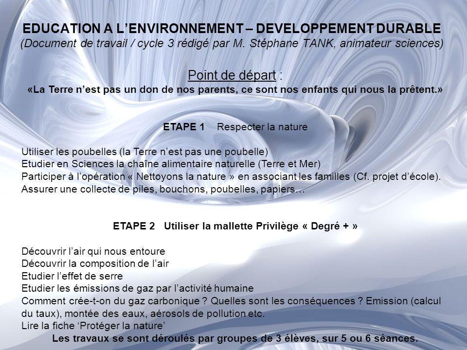 ETAPE 3 Nos actions «Ces petits gestes» Nettoyer régulièrement la cour de lécole Effectuer des collectes de déchets Utiliser dautres moyens de transport (Cf.