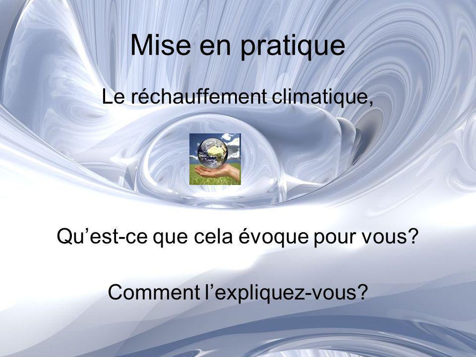 Mise en pratique Le réchauffement climatique, Quest-ce que cela évoque pour vous? Comment lexpliquez-vous?
