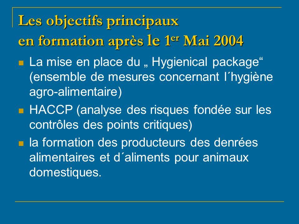 Les objectifs principaux en formation après le 1 er Mai 2004 La mise en place du Hygienical package (ensemble de mesures concernant l´hygiène agro-alimentaire) HACCP (analyse des risques fondée sur les contrôles des points critiques) la formation des producteurs des denrées alimentaires et d´aliments pour animaux domestiques.
