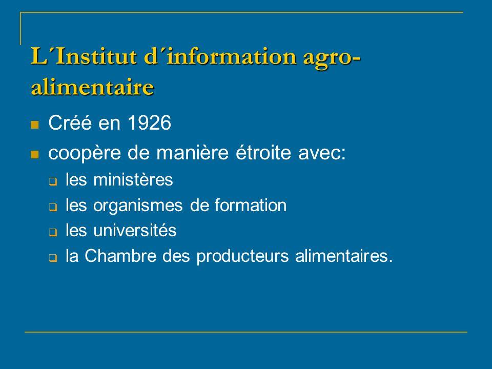 L´Institut d´information agro- alimentaire Créé en 1926 coopère de manière étroite avec: les ministères les organismes de formation les universités la Chambre des producteurs alimentaires.