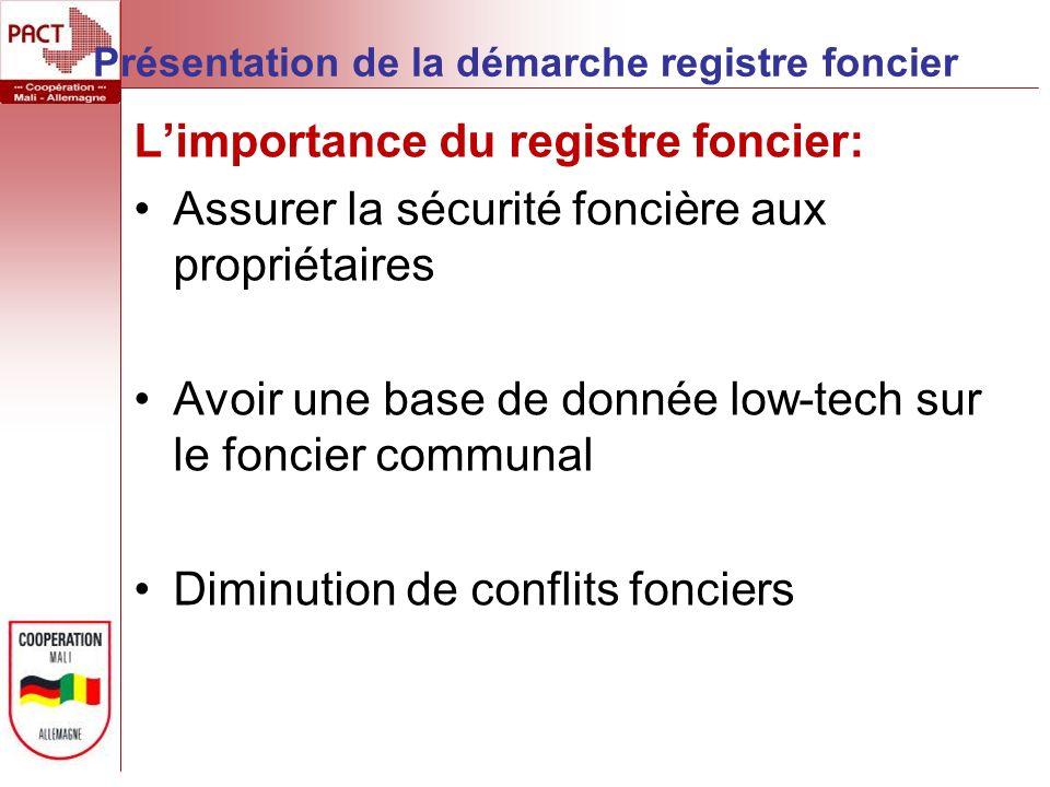Limportance du registre foncier: Assurer la sécurité foncière aux propriétaires Avoir une base de donnée low-tech sur le foncier communal Diminution de conflits fonciers