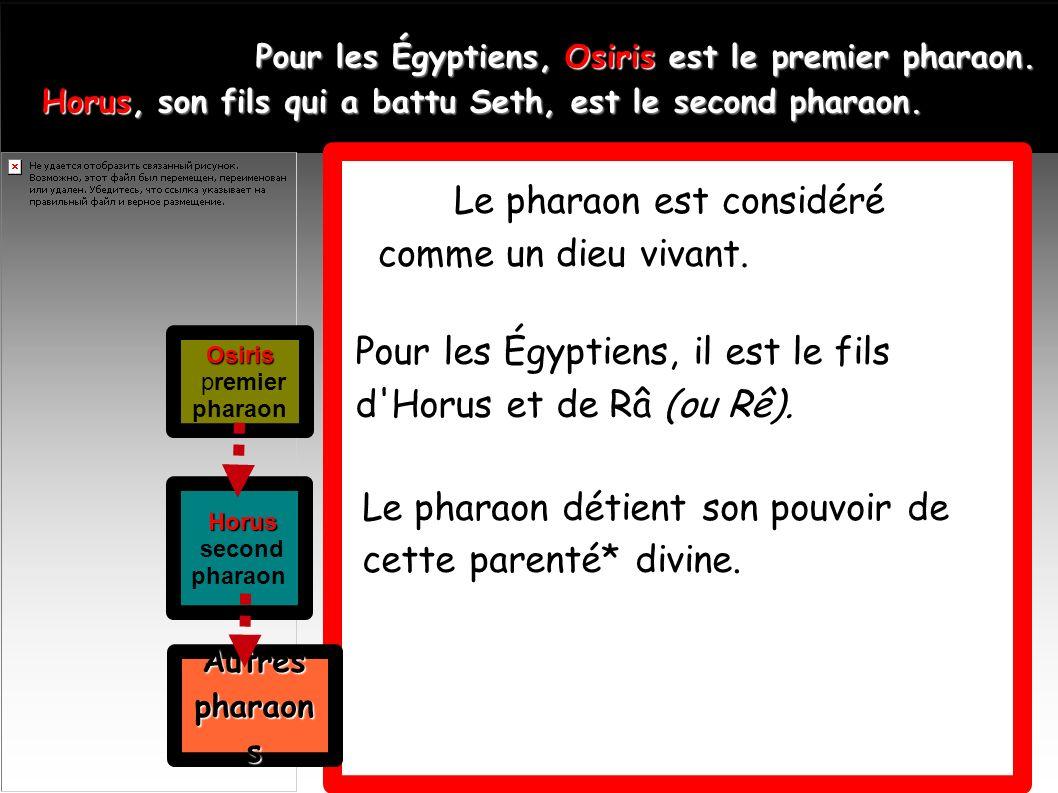 Pour les Égyptiens, Osiris est le premier pharaon. Horus, son fils qui a battu Seth, est le second pharaon. Horus, son fils qui a battu Seth, est le s