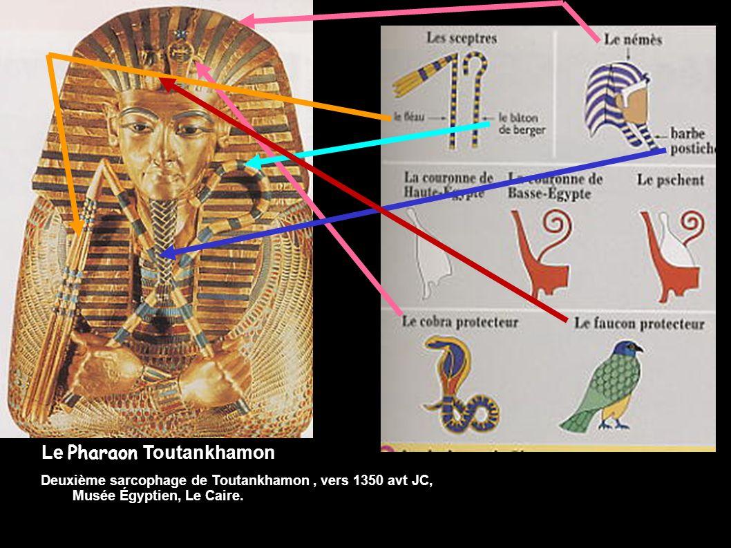Documents 3&4 page 29 : Repère les différentes insignes de Pharaon sur ce sarcophage. Le Pharaon Toutankhamon Deuxième sarcophage de Toutankhamon, ver