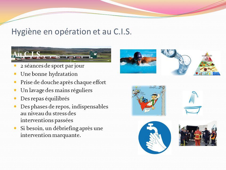 Hygiène en opération et au C.I.S. Au C.I.S. 2 séances de sport par jour Une bonne hydratation Prise de douche après chaque effort Un lavage des mains