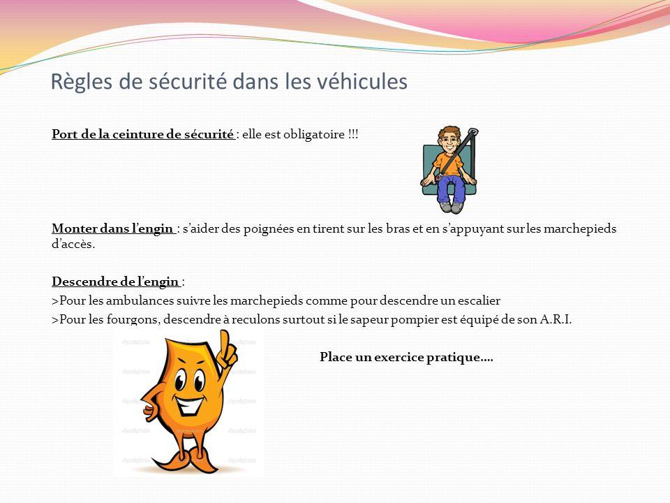Règles de sécurité dans les véhicules Port de la ceinture de sécurité : elle est obligatoire !!! Monter dans lengin : saider des poignées en tirent su