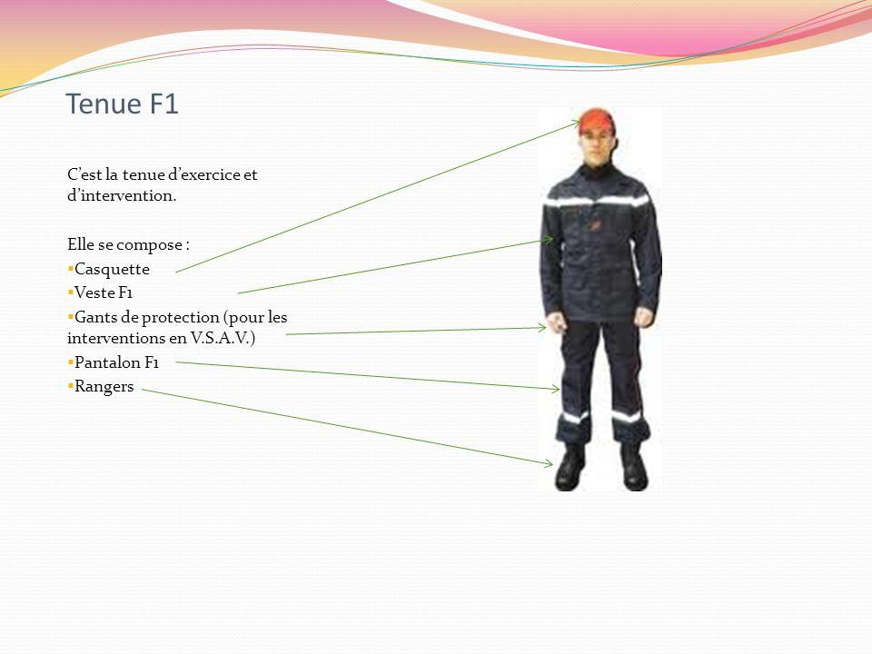 Tenue F1 Cest la tenue dexercice et dintervention. Elle se compose : Casquette Veste F1 Gants de protection (pour les interventions en V.S.A.V.) Panta