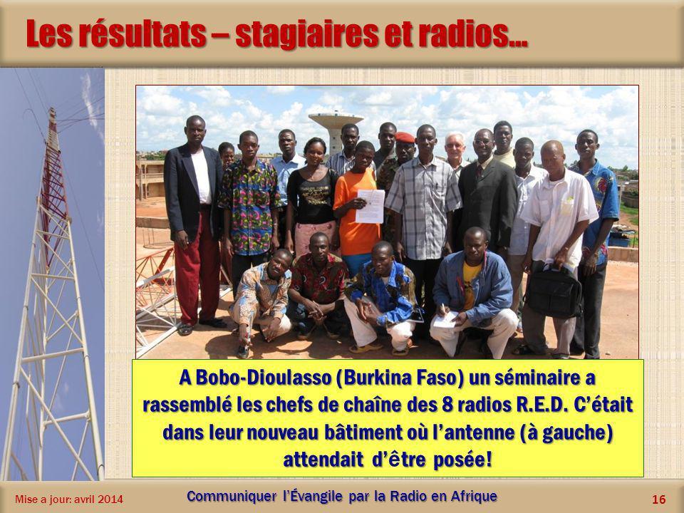 Les résultats – stagiaires et radios… Mise a jour: avril 2014 Communiquer lÉvangile par la Radio en Afrique 16 A Bobo-Dioulasso (Burkina Faso) un sémi