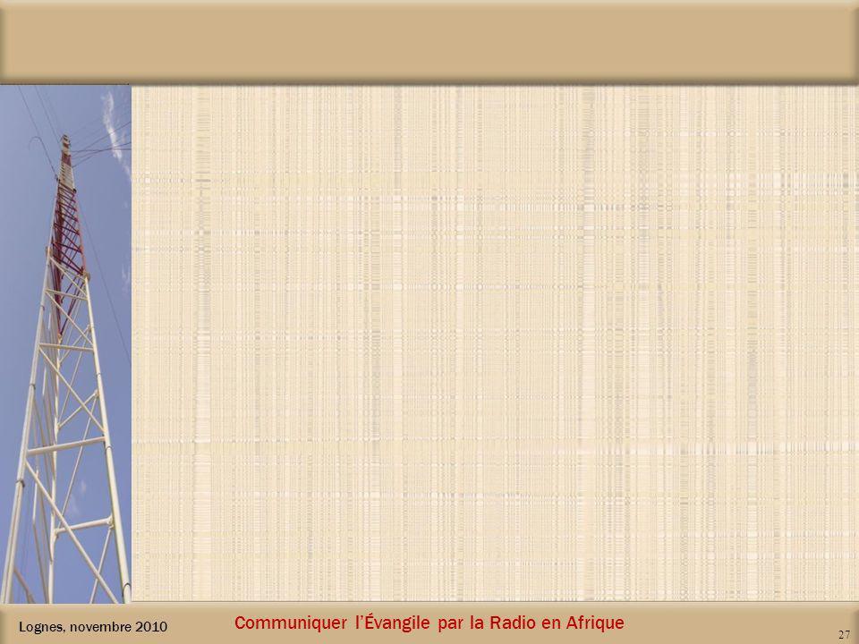 Lognes, novembre 2010 Communiquer lÉvangile par la Radio en Afrique 27